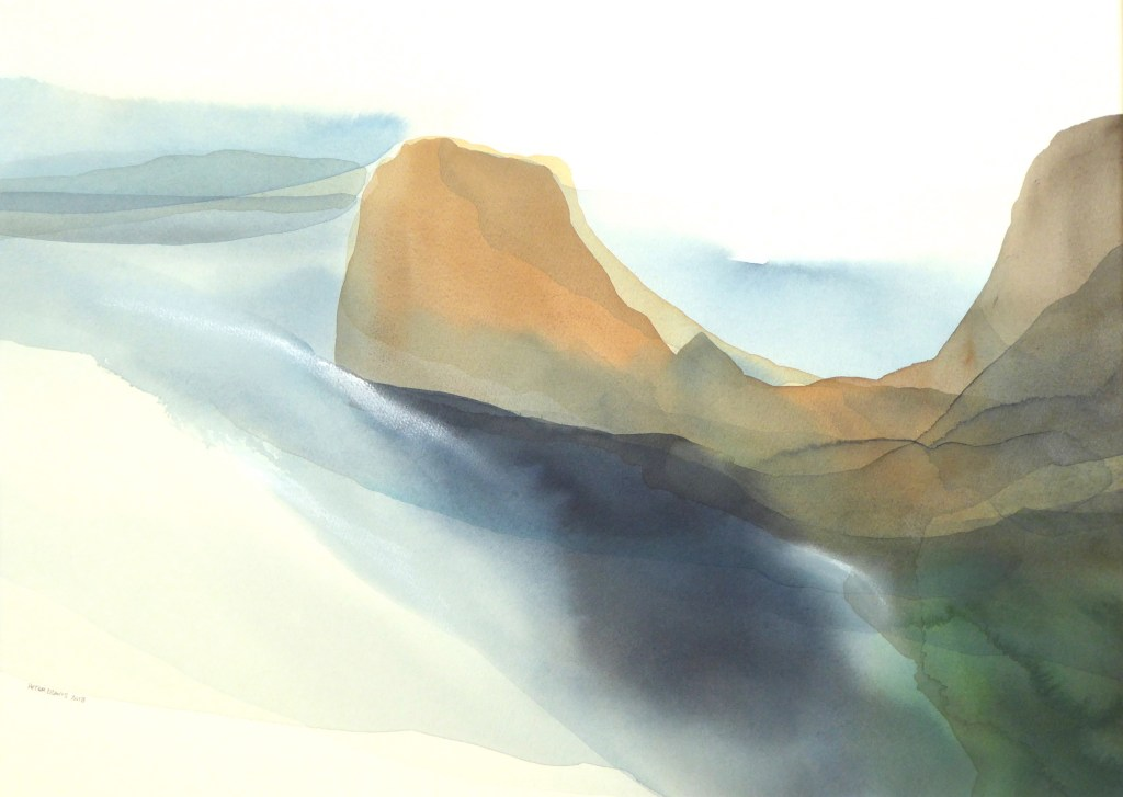 Peter Davis. Coar Holm, Watercolour with chalk rubbing on paper 2018, (70x50cm) copy