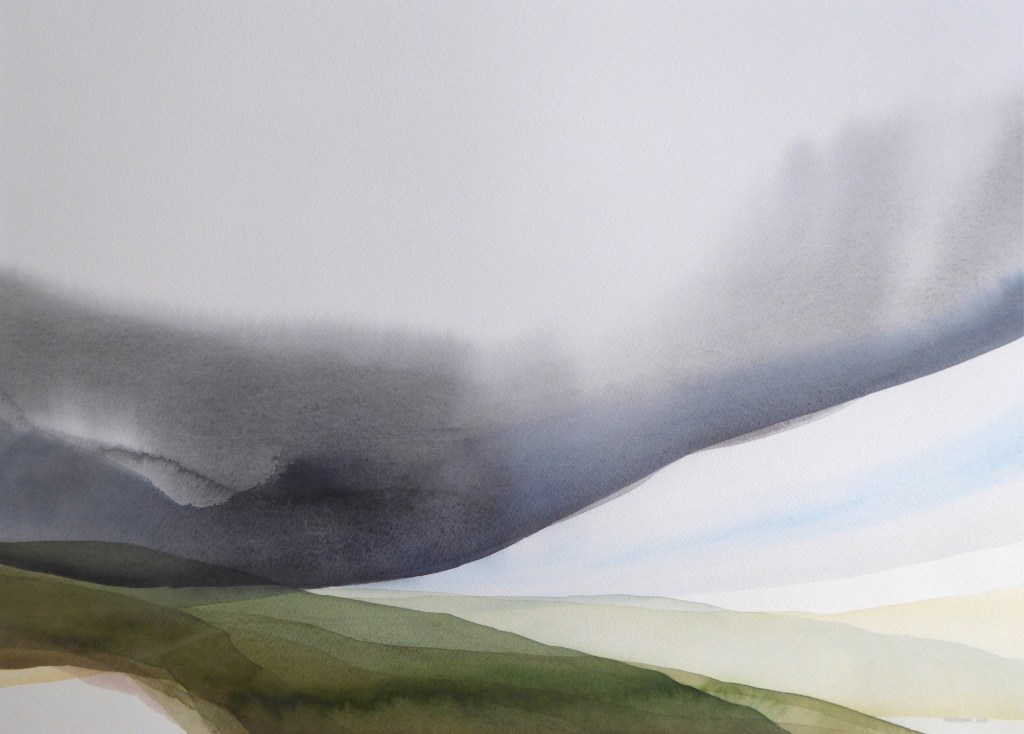Peter Davis. Summer on Neeans, Watercolour on paper 2018, (70x51cm)