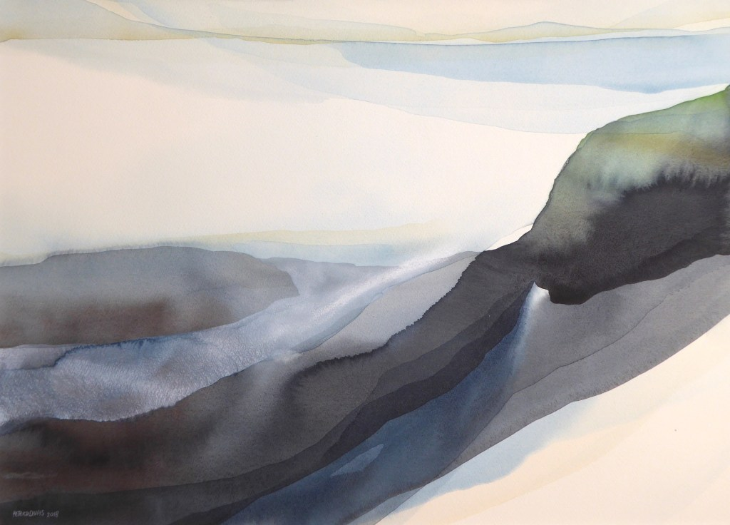Peter Davis. Tur Ness, Watercolour and bodycolour on paper 2018, (70x50cm)