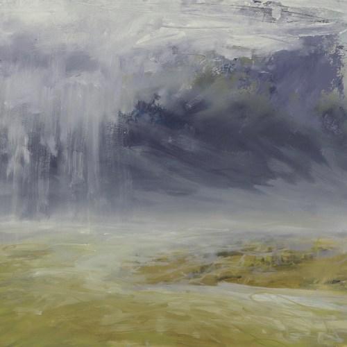 Libby Scott, Rain Over Golden Lit Land, 38 x 38cm