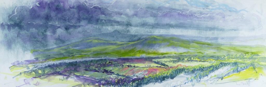 Libby Scott, Storm Brewing Over Fife, 30 x 70cm