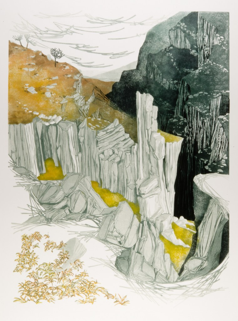 Laura Boswell. Morning Light (linocut, 440 x 590)