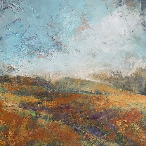 Penny Hunt. Ribblehead Sunset 40x40cm oil on board unframed