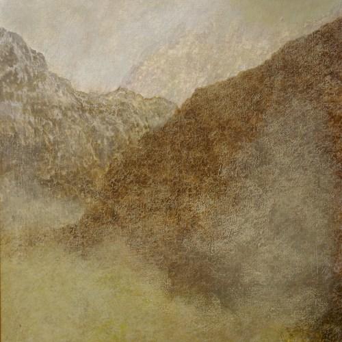 Keith Salmon. 'A cold, damp winter morning, Glen Coe', Acrylic & Pastel, 2017, 80 x 80 cm