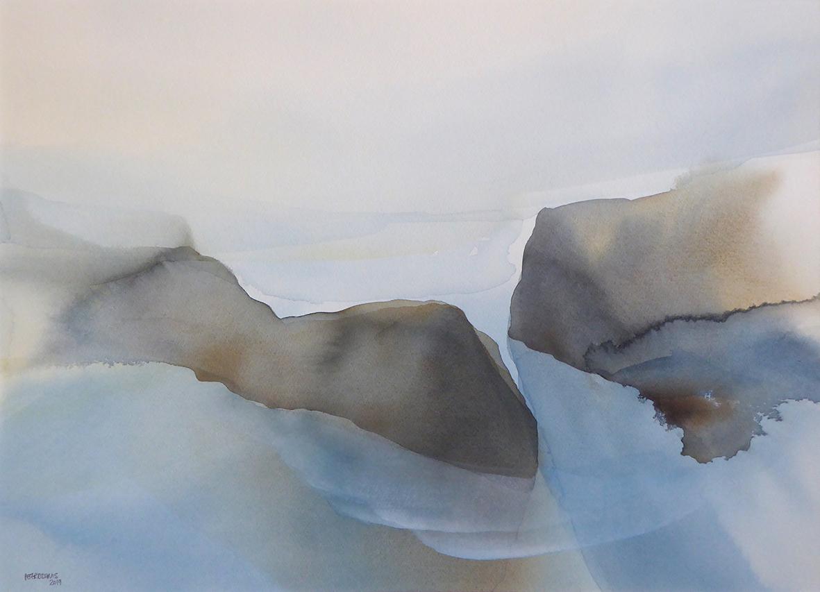 Peter Davis. Bára, Moulie Geo, Watercolour on paper 2019, (70x51cm)