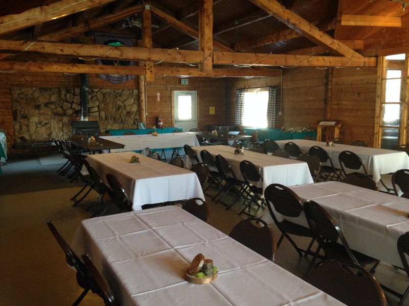 Lodge set up for a banquet
