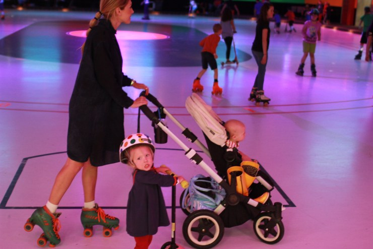strollers on the roller rink