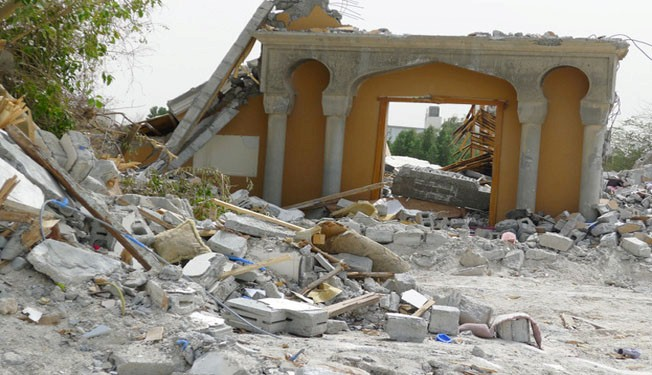 Maitham Al Bahrani Mosque in Mahooz, Bahrain, bulldozed by regime forces