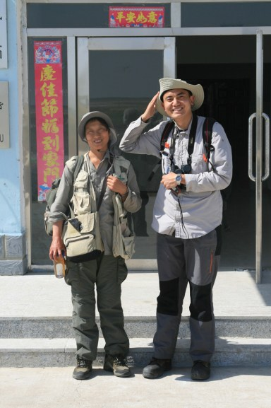 The team: Fu Jianping and Zhu Bing Run at a windy Tumuji NNR.