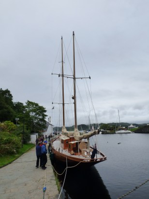 Beautiful yacht in the small harbour at Crinan