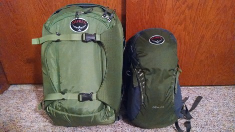 Left - Osprey Porter 46, Right - Osprey Daylite. The Porter has a straightjack compression system, 3 handles, duffle bag attachment points, and stow-away shoulder straps and hip belt.