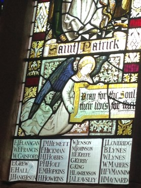 WW1 window at St John the Baptist Coventry