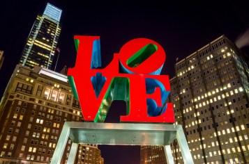 The Love statue in the Love Park Philadelphia