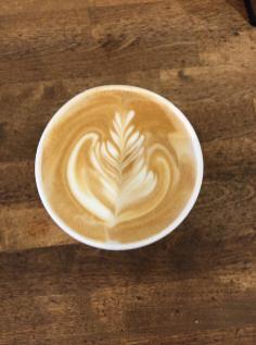 Linger with an organic latté made with Bird Friendly, Organic, Fair Trade coffee