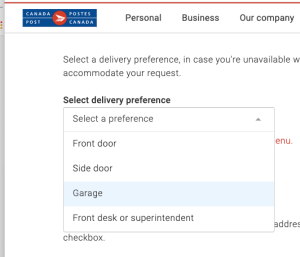 Select Deivery Preference