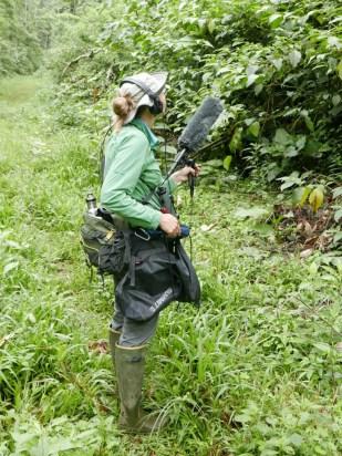Kathi recording juvenile Ornate Hawk-Eagle