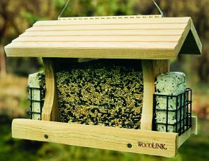 hopper with suet cake baskets for woodpeckers
