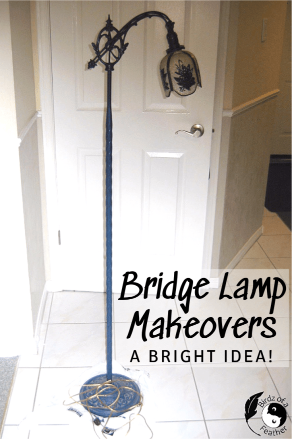 Bring a bridge lamp into the 21st century with a modern makeover. Birdz of a Feather | bridge lamp | lighting inpiration | vintage lighting | bridge lamp makeover | antique floor lamp | floor lamp | vintage floor lamp #lamp #lamps #floorlamp #vintagelighting #birdzofafeather.ca