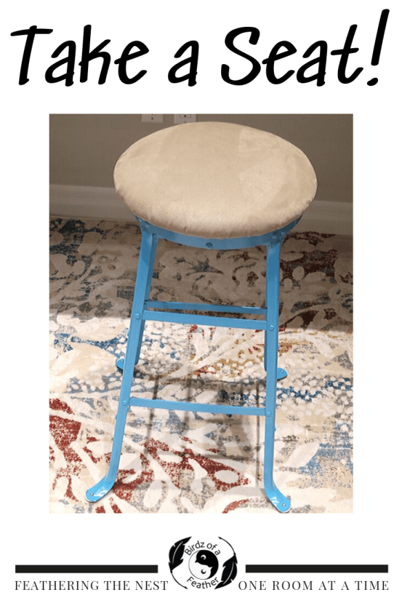 Vintage drafting chair transformation. Birdz of a Feather | drafting chair | reupholster stool |  reupholster stool cushion |vintage chair | painted chair | vintage stool | vintage drafting | upholstered chair | upholstered stools | upholstered stools diy | diy | stool #birdzofafeather.ca #stool #vintagestool #vintagedraftingstool #draftingstool #chair #paintedchair #diy