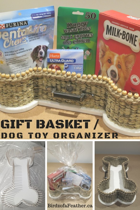 Learn how to make a DIY gift basket and dog toy organizer | birdz of a feather | gift basket ideas | gift baskets | gift basket ideas for christmas | pet gifts | pet gifts DIY | pet gift basket | pet gifts dogs | diy basket | diy basket gift ideas | basket making | basket making diy | christmas crafts | craft | crafts | diy crafts | birdzofafeather.ca | dog basket | basket making rope | dog basket for toys #DogDIY #craft #repurposed #basketmaking #christmascrafts #birdzofafeather #upcycled #gift