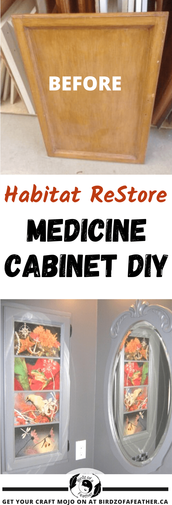 Construct this medicine cabinet DIY using a door from the ReStore! Then snazz up with decoupage! Birdz of a Feather | decoupage | decoupage ideas | medicine cabinet | medicine cabinet makeover | medicine cabinet ideas | picture frame medicine cabinet diy | built in medicine cabinet diy | recessed medicine cabinet diy | bathroom decor DIY | bathroom decor diy ideas | bathroom decor ideas | habitat restore | habitat restore projects | habitat restore projects DIY | medicine cabinet diy