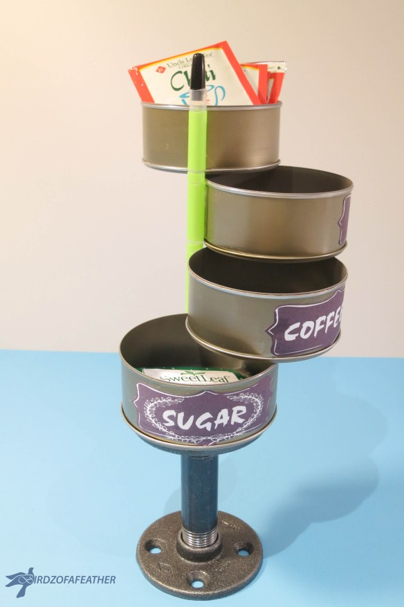The recycle pile has untapped potential! Grab some tuna cans to create a tuna can swing out. Bet you can't make just one: they are so addictive! Birdz of a feather | Tuna can swing out | tuna can upcycle | storage | tin can crafts | tin can crafts diy | upcycle | crafts | diy | #birdzofafeather.ca #upcycle #recycle #tincancrafts #tunacan #upcycling #upcycledcan #upcyledcrafts