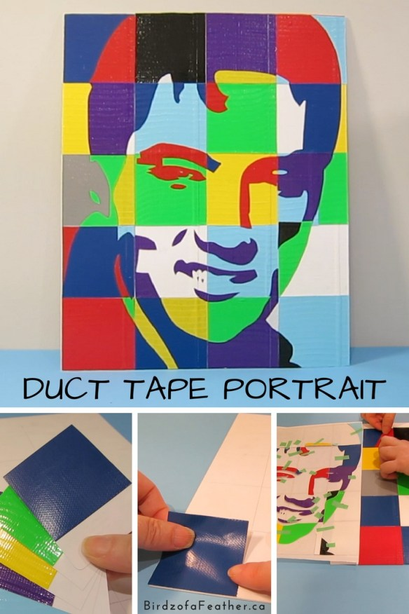 Use duct tape to make a one of a kind portrait. Birdz of a Feather | duct tape crafts | crafts | BirdzofaFeather.ca #ducttape #birdzofafeather #craft #diy