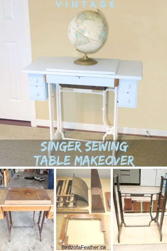 Upcycle a Singer sewing machine table into a desk. Learn how to repurpose and paint a Singer sewing table.   Birdz of a Feather   Singer sewing machine table   Singer sewing machine table repurposed   Singer sewing machine ideas   sewing table DIY   sewing table repurposed   Upcycled furniture   Painted furniture   Singer sewing machine table desk   #paintedfurniture #vintagefurniture #Singersewingmachine #sewingmachinetable #singersewingmachinerepurposed   BirdzofaFeather.ca