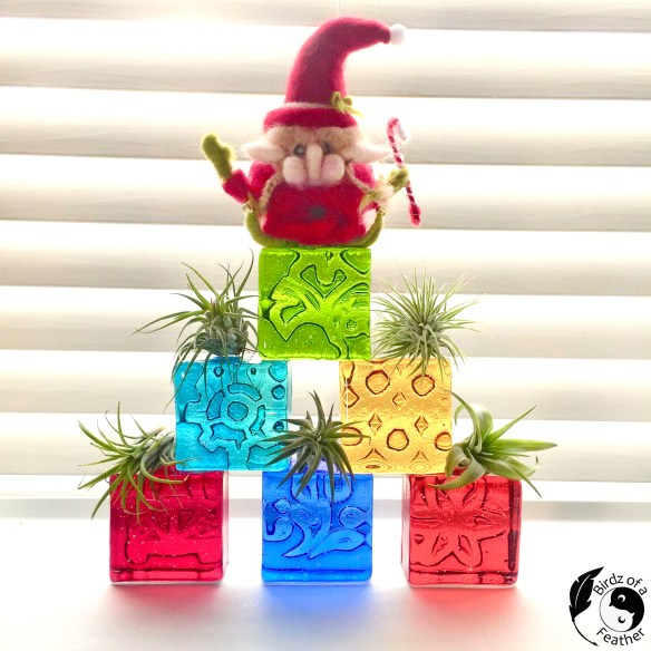 Glass mini blocks are so versatile; you can even stack and turn them into an unconventional christmas tree for the holidays! Birdz of a Feather | Glass mini blocks | fused glass | fused glass blocks | fused glass christmas | fused glass christmas ornaments | fused glass ideas | fused glass ideas for beginners | christmas tree ideas | unconventional christmas trees diy | unconventional christmas trees | #birdzofafeather.ca #fusedglass #christmasideas #christmasdecor