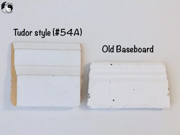 """Comparison of old baseboard trim to new modern baseboard that's 4.5"""" hight"""