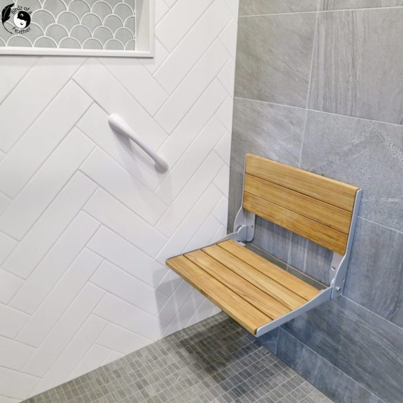 A walk in shower remodel takes centre stage by adding a curbless shower to a two piece bathroom on the main level. Today we're showing you how it's done! Birdz of a Feather | walk in shower remodel before and after | walk in shower room | walk in shower room ideas | curbless shower ideas | curbless shower ideas walk in | curbless shower pan | curbless shower diy | bathroom remodel | shower tile ideas | bathroom remodel | bathroom diy