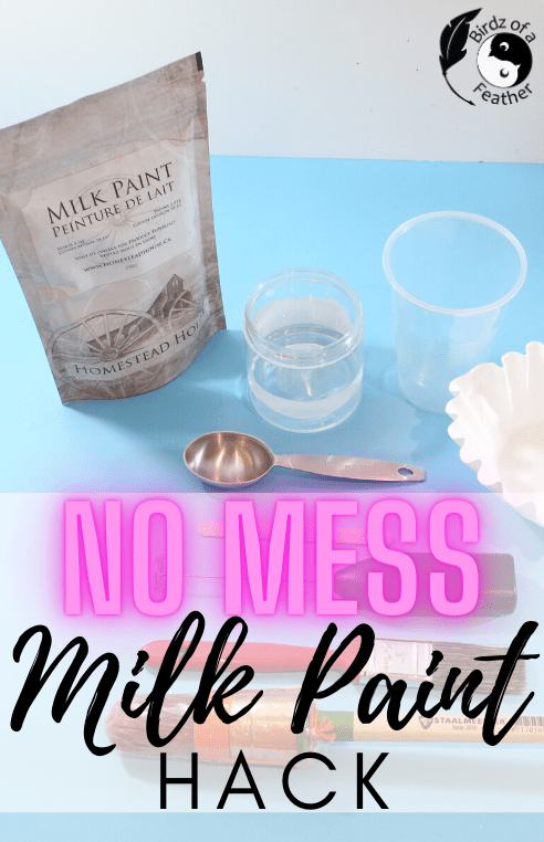Do you know how to mix milk paint fast and efficiently? In this post I'm demonstrating a great little milk paint hack I developed using three kitchen items.Birdz of a Feather | how to mix milk paint fast | milk paint hack | milk paint diy | milk paint diy ideas | how to mix milk paint powder | paint mixing | paint mixing tips | sustainable paint | furniture painting | painted furniture | milk paint tips | tips for using milk paint | tips for milk paint