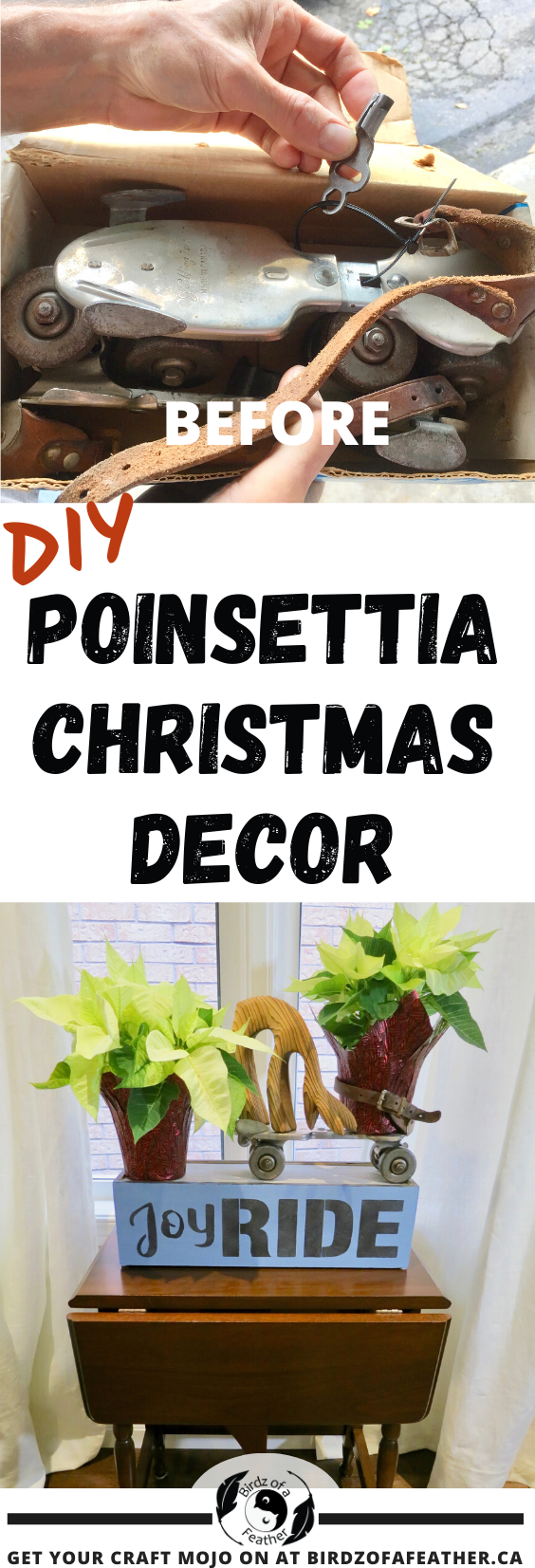 Looking for a fast and simple Christmas craft? This Poinsettia Christmas decor project would be it! And it all starts with an old wine box! Birdz of a Feather | christmas decorations | christmas decor | christmas plant decor | christmas house plants | christmas plant decor | christmas plant ideas | planter ideas | diy planter table | indoor planter display | indoor plant ideas | upcycling ideas | roller skate upcycle | wine box upcycle | wine box crafts | wine box ideas | wine box ideas projects | Milk Paint | Habitat ReStore | Habitat ReStore Project | Habitat ReStore DIY