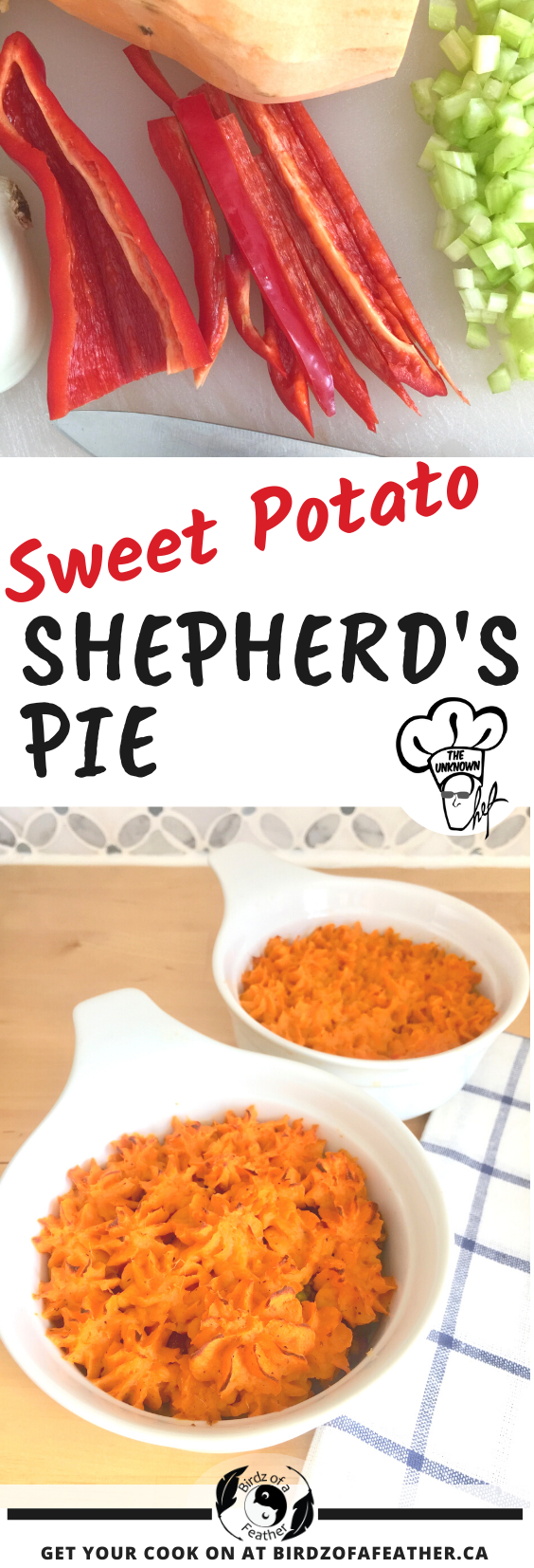 Sweet potato shepherd's pie is a tasty treat and a favourite make-ahead meal. Makes enough to eat some the same day and also freeze for later! Birdz of a Feather   sweet potato recipes   shepherd's pie   sweet potato shepard's pie   sweet potato shepard's pie healthy   make ahead meals   make ahead dinners   make ahead masked potatoes   tasty dinner recipes   tasty dinner ideas   tasty dinner for two   meat recipes   meat recipes for dinner   meat recipes healthy