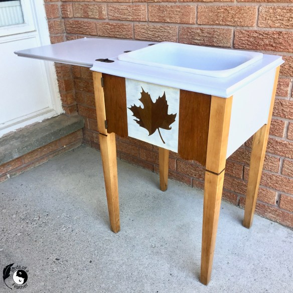 A patriotic drink station is just the upcycle to welcome people & usher in the reopening of the Province! Birdz of a Feather   drink station ideas party   drink station ideas   drink stations for parties   sewing table repurpose   sewing table ideas   sewing table ideas diy   sewing table makeover   sewing table diy   sewing table   sewing table upcycle   sewing table upcycle ideas   sewing table update   upcycled sewing table   upcycled singer sewing machine table   Upcycle sewing machine table