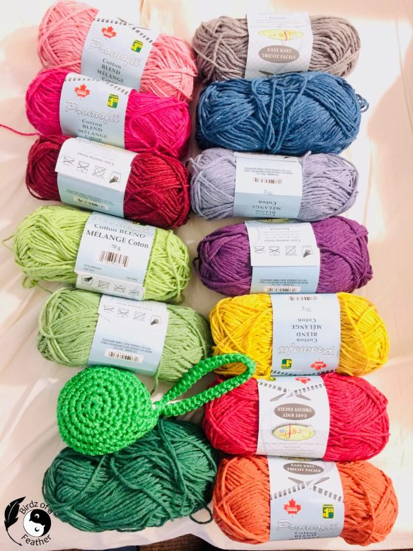 Rainbow of colours of yarn for Crochet coral reef