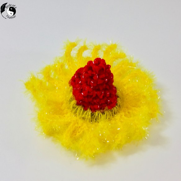 Crochet coral reef - red and yellow coral