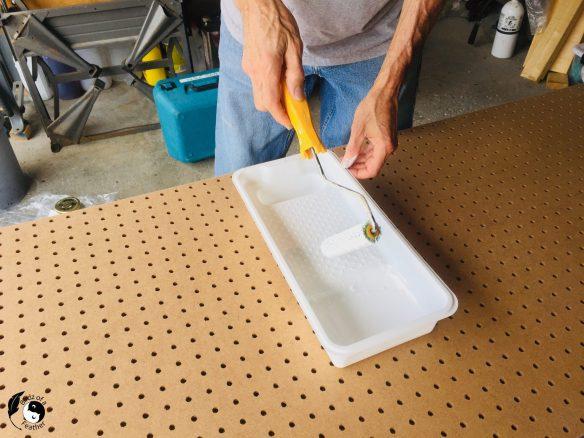 Priming the pegboard craft organizer
