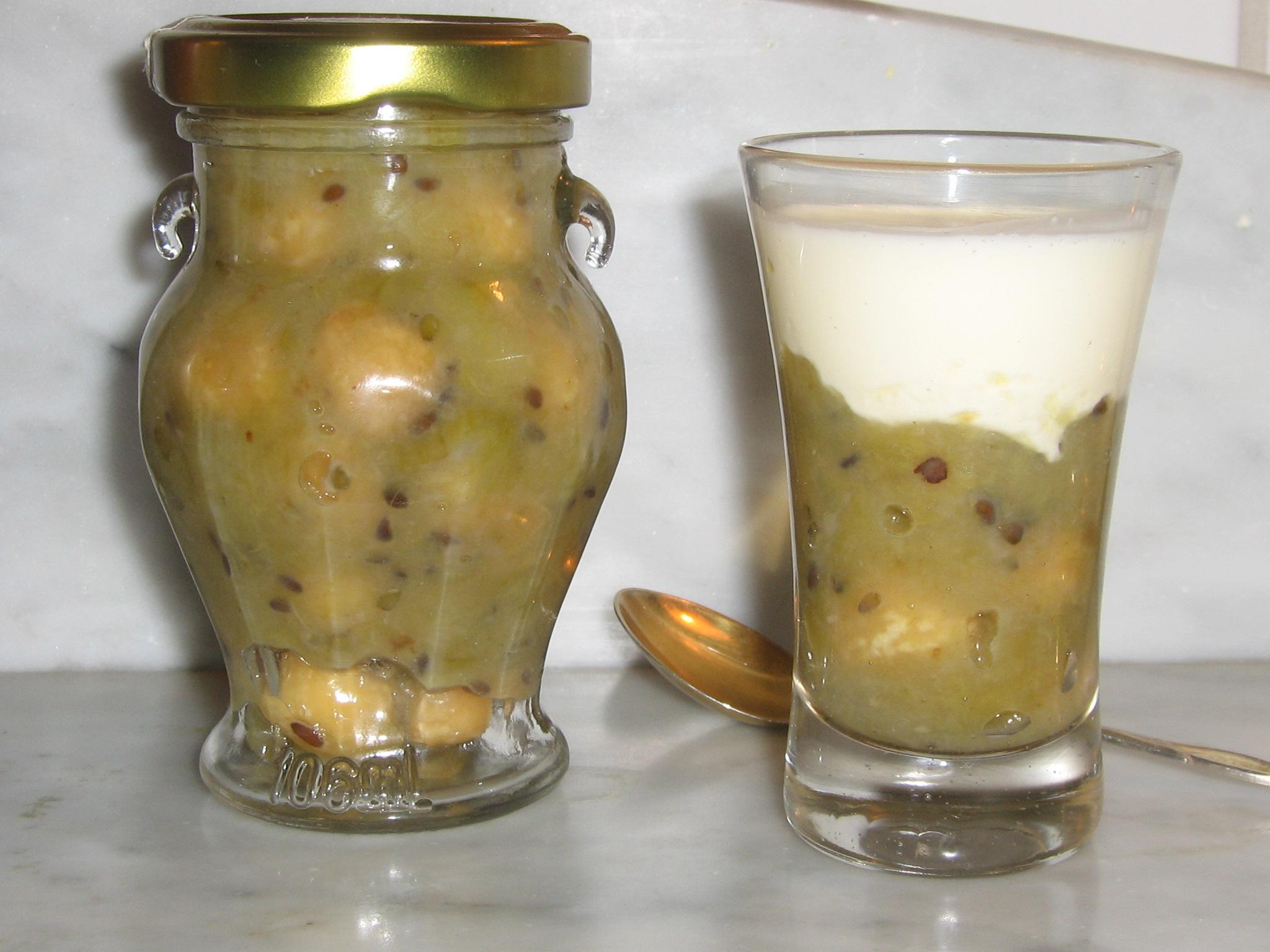 Krusbärssylt på Björksocker med rostade Hasselnötter och Grädde