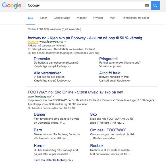 Footway er synlige på sitt eget navn på Google søk