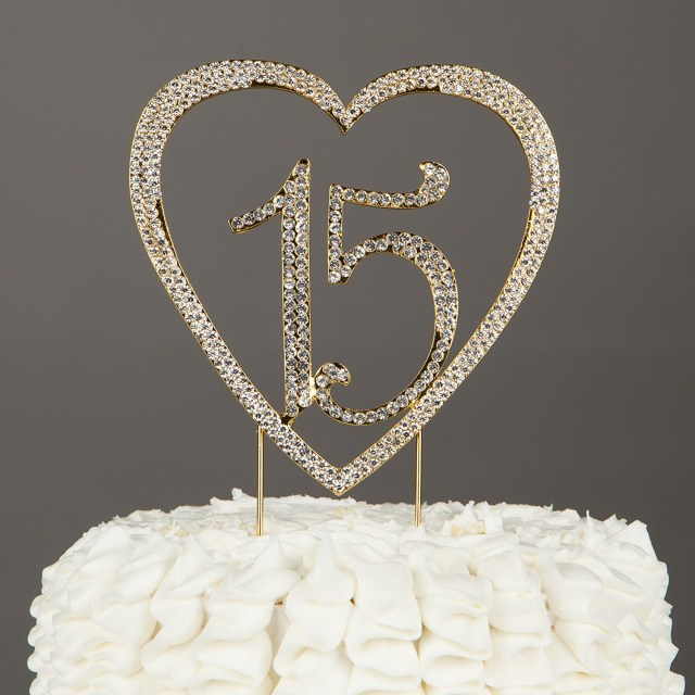 15 Birthday Cake 15 Heart Cake Topper Gold 15th Birthday Party Quinceaera