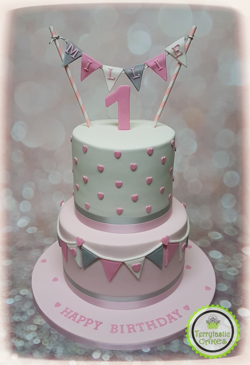 Outstanding 1St Birthday Cake Girl Pink Grey Bunting 1St Birthday Cake Girl Funny Birthday Cards Online Elaedamsfinfo