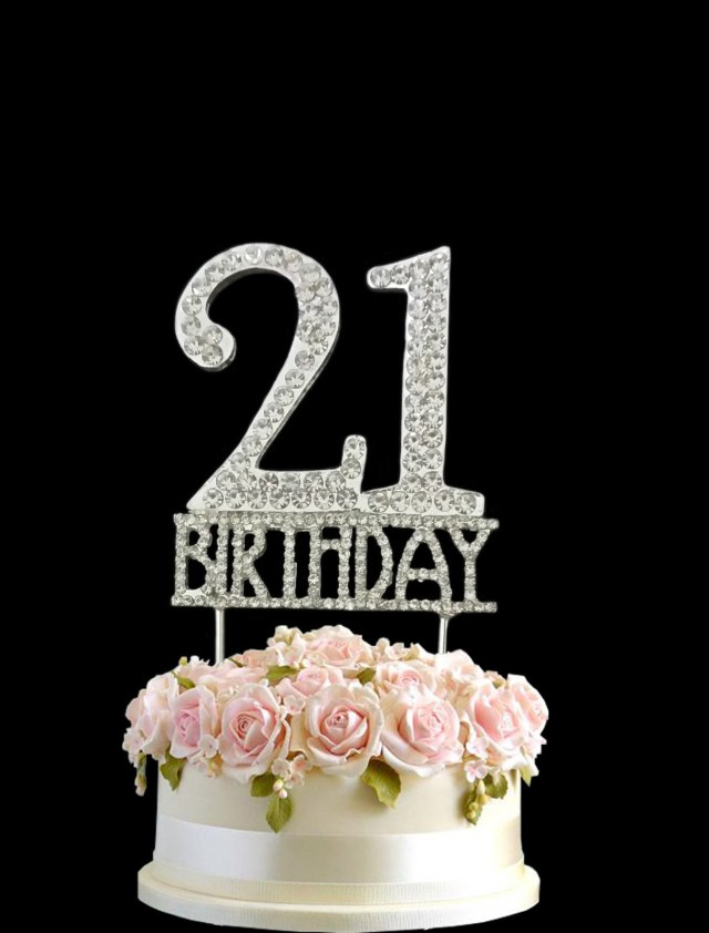 21St Birthday Cake Crystal Monogran Happy 21st Birthday Cake Topper Rhinestone Diamante