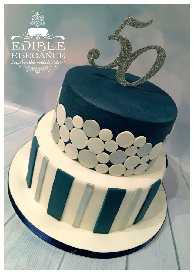 50 Birthday Cakes 50th Birthday Cake Contemporary Design In Masculine Blue White And