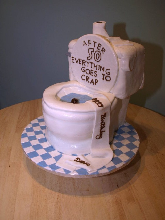 50 Birthday Cakes 50th Birthday Cake Idea Featuring A Toilet Everything Goes To Crap