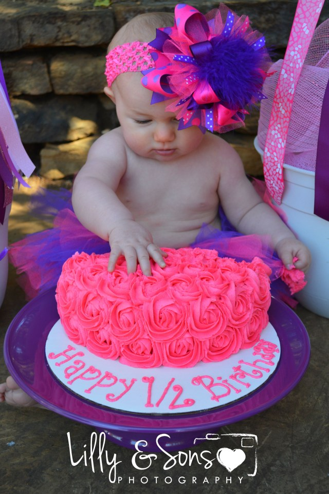 6 Month Birthday Cake Ba Brylee 12 Months Smash Photography Photo
