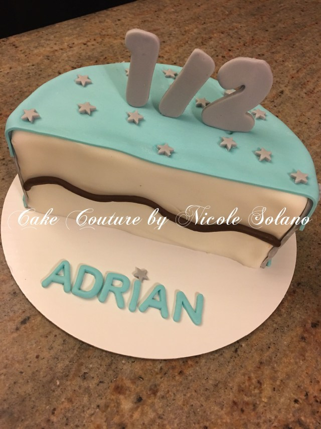 6 Month Birthday Cake Half For Boy Couture Nicole Solano