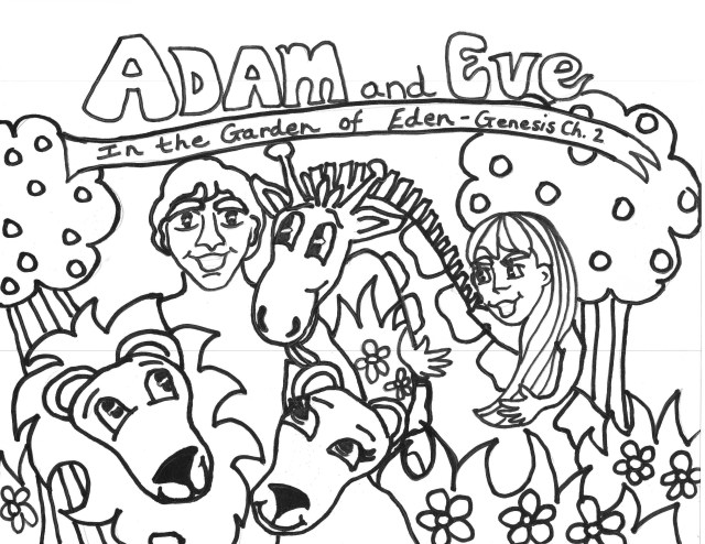 Adam and Eve in the garden of Eden coloring page from Adam and Eve ... | 494x640