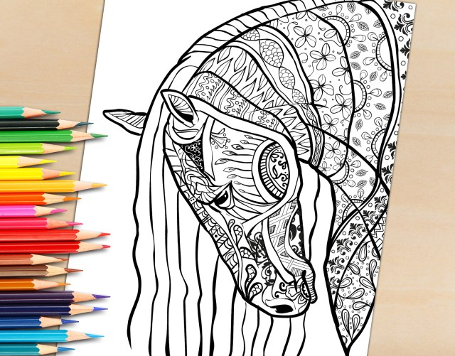 Adult Coloring Book Pages Adult Coloring Book Page Beautiful Stallion For Adult Coloring To