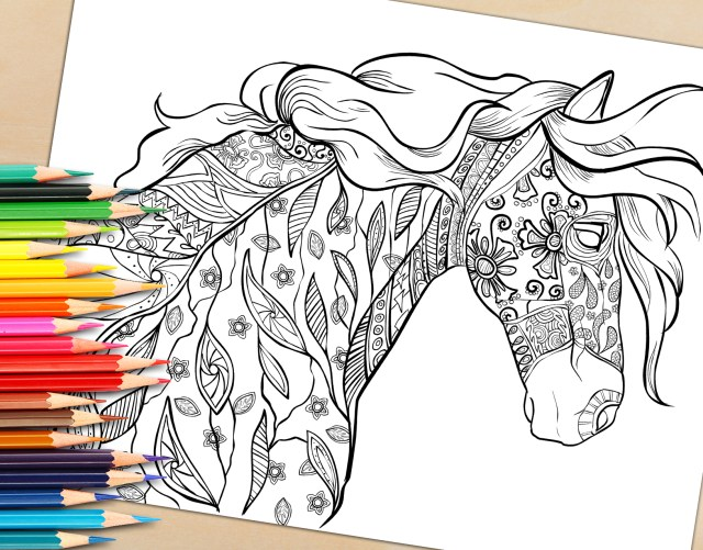 Adult Coloring Book Pages Adult Coloring Book Page Decorative Horse Coloring Page For